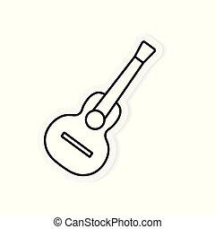 guitare, acoustique, vecteur, illustration, icon-