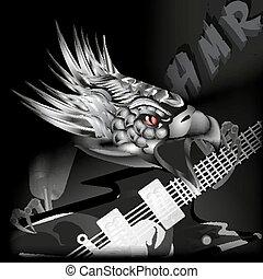 guitare, aigle, cla, fer, sien
