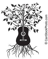 guitare, arbre