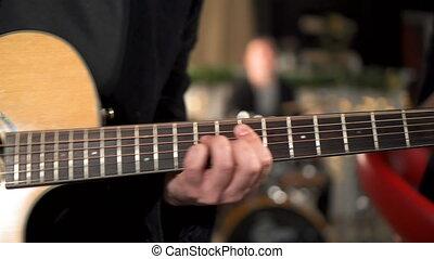 guitare, beau, solo., jouer, lumière