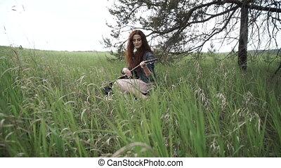 guitare, champ, girl, hippie, jouer
