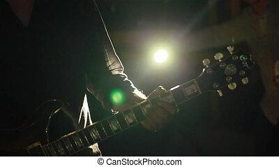 guitare, club, musicien, jouer