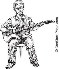 guitare, dessiné, main, joueur