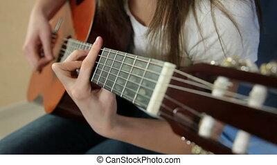 guitare, girl, jeune, jouer