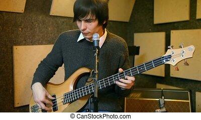 guitare, guitariste, studio, électrique, jouer