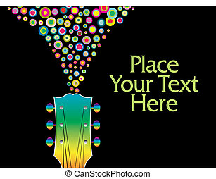guitare, headstock, coloré