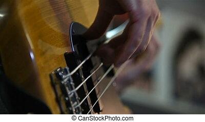 guitare, homme, basse, jouer