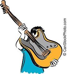 guitare, illustration, homme