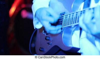 guitare, lumières, musicien, jouer, disco