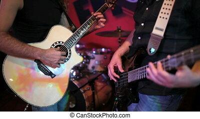 guitare, musicien, jouer