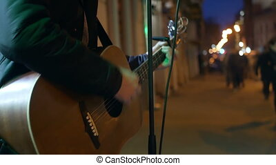guitare, musicien, jouer, main