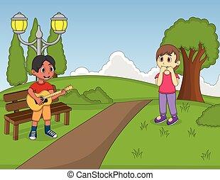guitare, parc, jouer, enfants