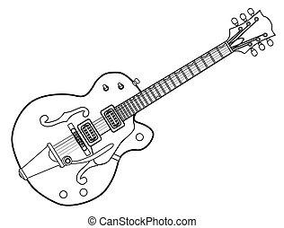 guitare, pays, occidental, contour