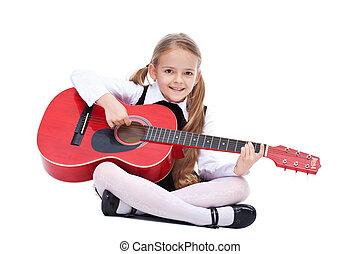 guitare, petite fille, heureux