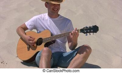 guitare, plage, assied, jeux, homme