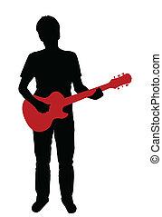 guitare, silhouette, électrique