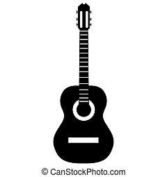 guitare, silhouette, isolé