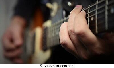 guitare, solo, jouer