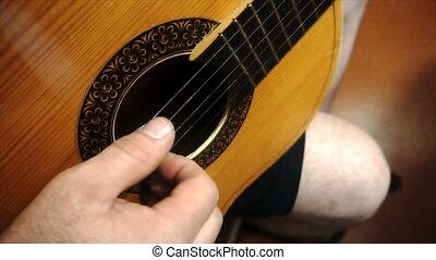 guitare, solo, ralenti, jouer