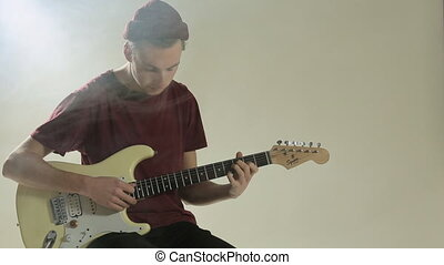 guitare, studio, fumée, type, chapeau, jouer