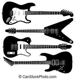 guitare, vecteur, électrique