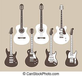 guitares acoustiques, électrique