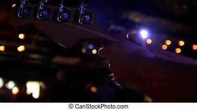 guitariste, caisse de résonnance, club, musicien, -, guitare, nuit, tient