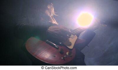 guitariste, guitare, enregistrement, jouer, studio, rocher