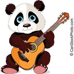 guitariste, panda
