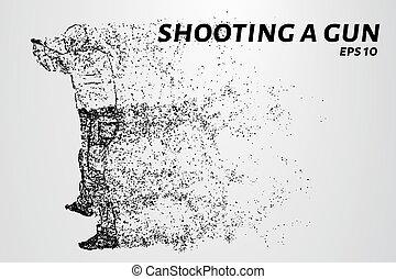 gun., cercles, silhouette, illustration., dots., fusil, particles., feux, vecteur, tir, homme