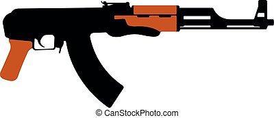 gun., silhouette, ak-47, illustration, machine, assaut, vecteur, fusil, kalashnikov