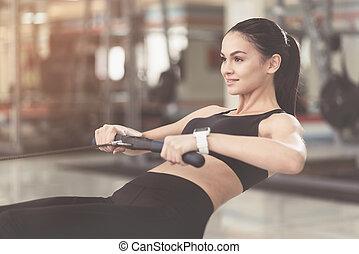 gym., femme, mince, augmente, asseoir