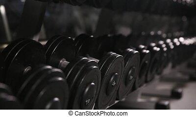 gym., gros plan, haltère, prend, homme