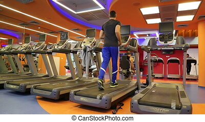 gymnase, équipez course, tapis roulant
