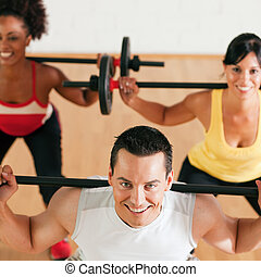 gymnase, barre disques, groupe, fitness