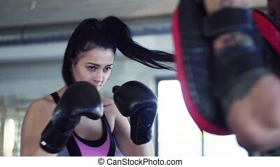 gymnase, boxe, jeune, gants, indoors., couple, exercice