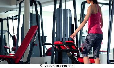 gymnase, dos femme, exercice, jeune