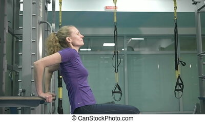 gymnase, femme, sportif, exercice, jeune