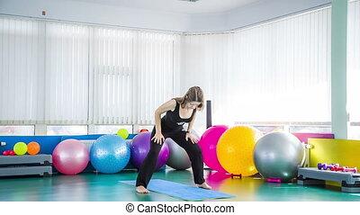 gymnase, femme, yoga