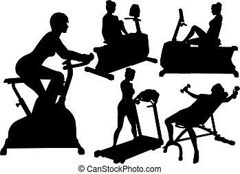 gymnase, femmes, séances entraînement, exercice, fitness