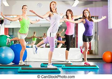 gymnase, formation, -, séance entraînement, fitness