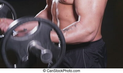 gymnase, levage, poids, homme