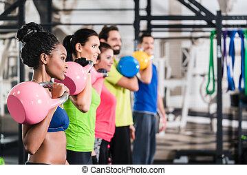 gymnase, sport, séance entraînement, fonctionnel, fitness