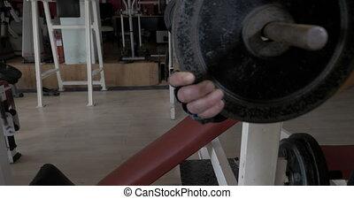 gymnase, tige, jeune, presse poitrine, exercice, homme