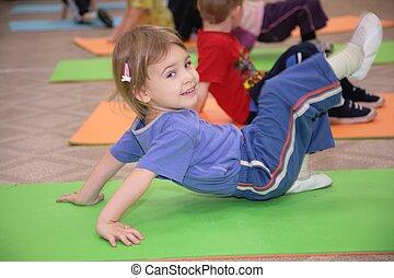 gymnastique, 3, engagé, girl