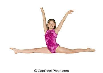 gymnastique, girl, 10, année vieille, poses