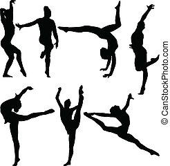 gymnastique, vecteur, -, collection