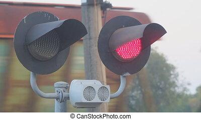 gyrophare, train, fond, croisement, dépassement, ferroviaire, rouges