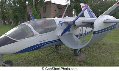 hélice, retro, avion
