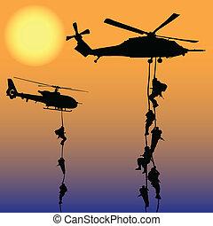 hélicoptère, atterrissage